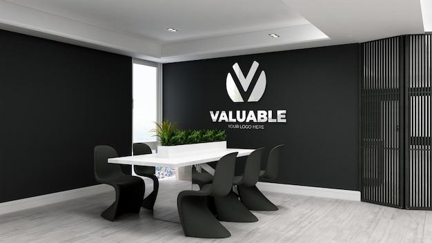 미니멀리즘 회의실의 3d 로고 모형
