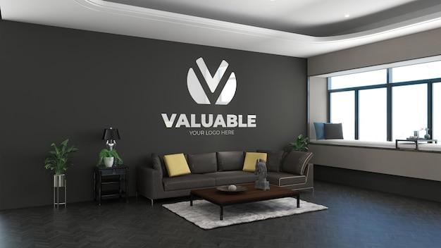 モダンなオフィスロビーの待合室で3dロゴのモックアップ