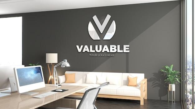 3d макет логотипа в зале ожидания современного офиса