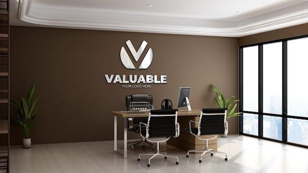 3d макет логотипа в современной комнате офис-менеджера