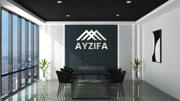 3d макет логотипа в современном офисе, конференц-зале