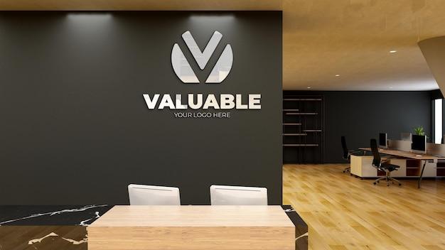 3d макет логотипа в современном стенном офисе