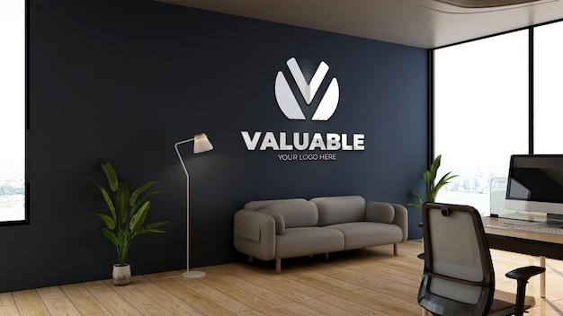 オフィスのビジネスロビーの待合室で3dロゴのモックアップ