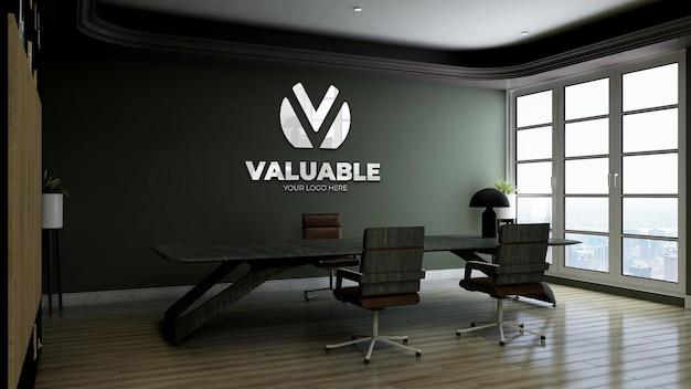 녹색 벽이 있는 사무실 비즈니스 관리자 룸의 3d 로고 모형