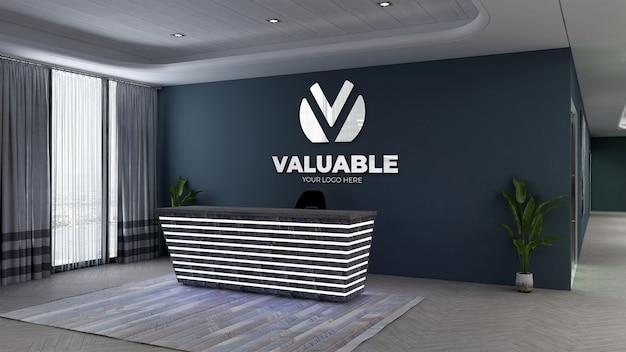 ネイビーの壁とオフィスのフロントデスクまたは受付の3dロゴのモックアップ