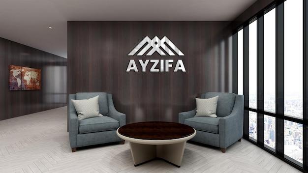 3d макет логотипа в зале ожидания холла офиса