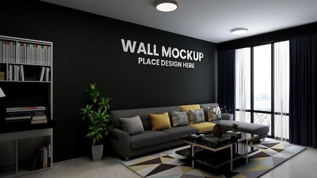 3d макет логотипа в холле офиса
