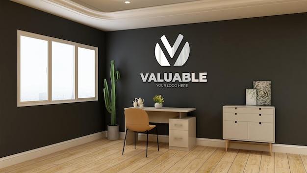 3d макет логотипа в комнате офис-менеджера с кактусом