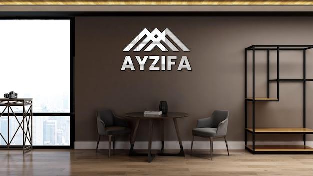 3d макет логотипа в офисе, конференц-зале