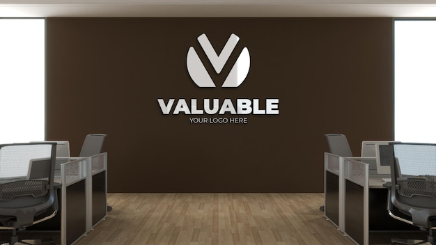 3d макет логотипа в офисе на рабочем месте с компьютерным столом