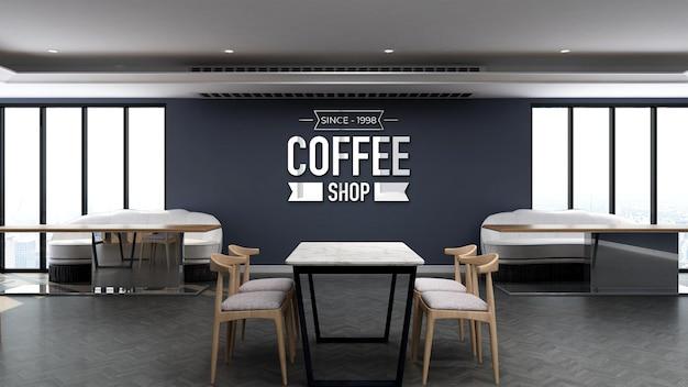 나무 테이블과 파란색 벽이 있는 커피숍의 3d 로고 모형