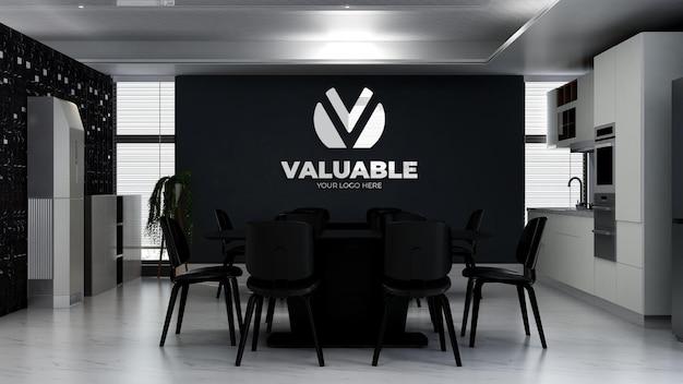 3d макет логотипа в офисной кухне