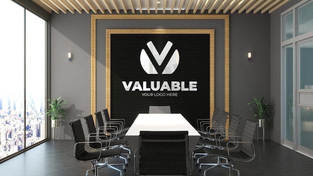 사무실 회의 공간에서 3d 로고 모형