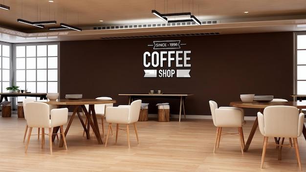 オフィスのレストランの部屋で3dロゴのモックアップ