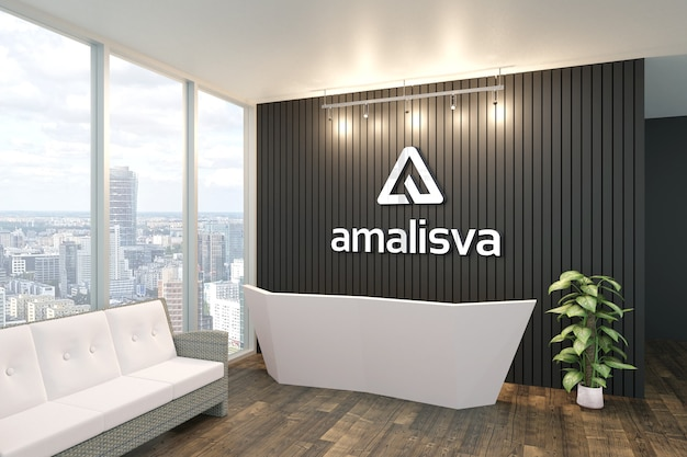 3d logo mockup on indoor decoration wall