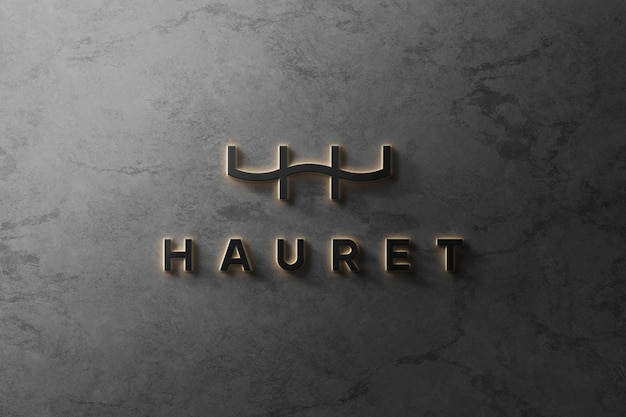 3d logo mockup frontale 3d luminoso di lusso