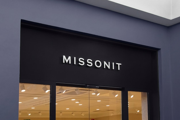 3d logo mockup modern facade sign