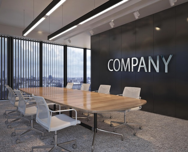 3d logo mockup in modern meeting room office