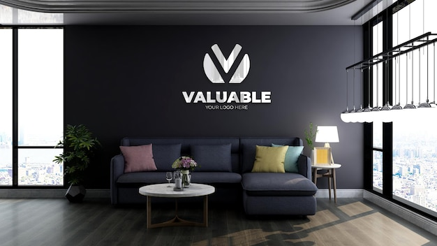 3d logo mockup in modern office lobby waiting room with blue sofa