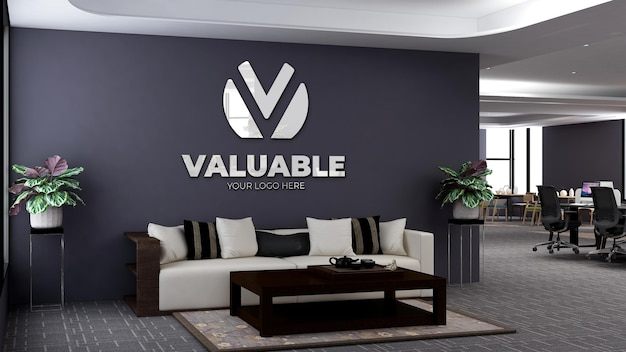 3d logo mockup in modern office lobby waiting room with sofa