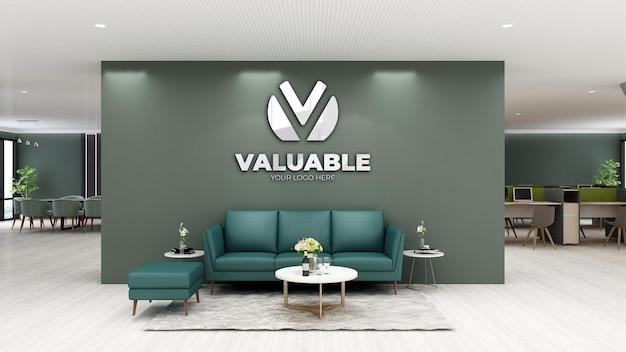 3d logo mockup in modern office lobby waiting room
