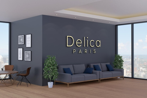 3d logo mockup on modern office wall