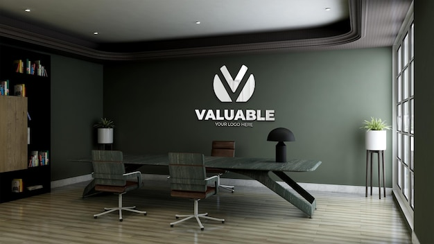 3d logo mockup in office business manager room with green wall