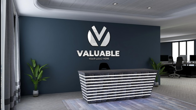 3d logo mockup in office front desk or receptionist with navy wall