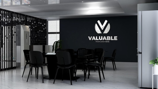 3d logo mockup in the office kitchen room
