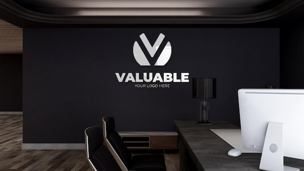 3d logo mockup in office manager business room with minimalist interior design