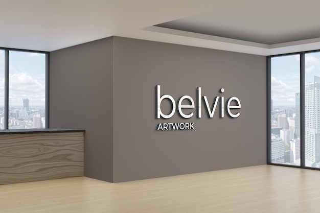 3d logo mockup on office wall