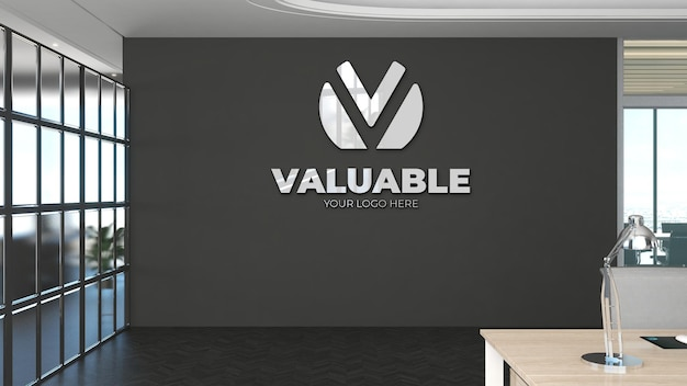3d logo mockup in office workplace