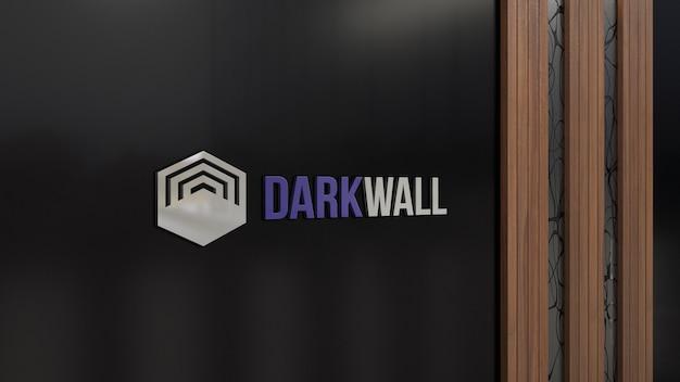 暗いガラスの壁に3dロゴのモックアップ