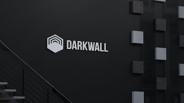3d로 어두운 벽에 3d 로고 모형