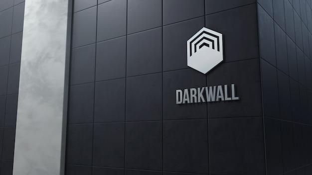 타일이있는 어두운 벽에 3d 로고 모형