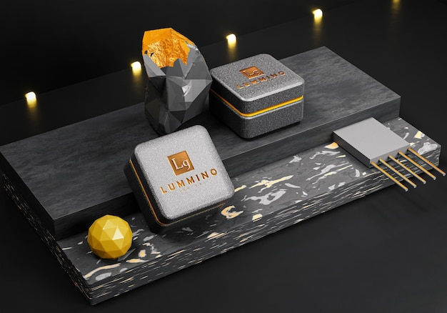 3d макет логотипа на роскошной коробке