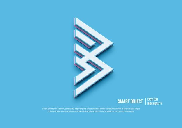 3d макет логотипа на стене рендеринга