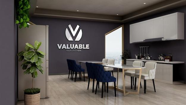 3d макет логотипа на стене офисной кладовой