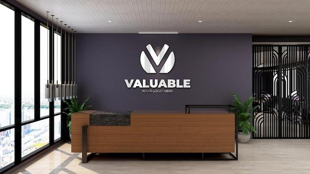 벽 사무실 접수 또는 프런트 데스크 룸에 3d 로고 모형