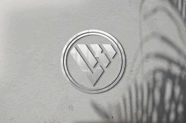 벽 그림자에 3d 로고 모형
