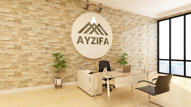 3d макет логотипа на деревянной стене