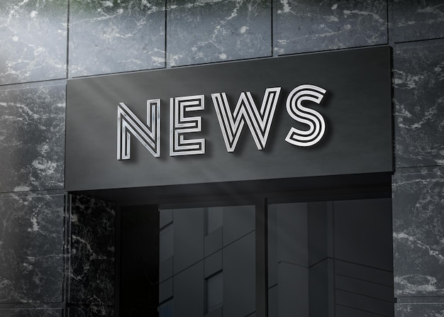 3d logo mockup realistic billboard sign on black marble building