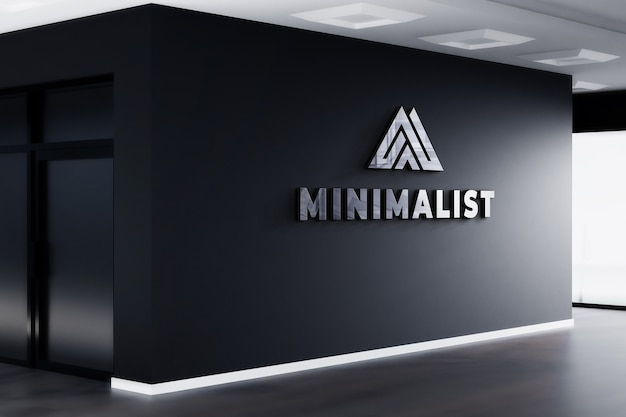 3 dロゴモックアップ現実的なサインオフィス黒い壁