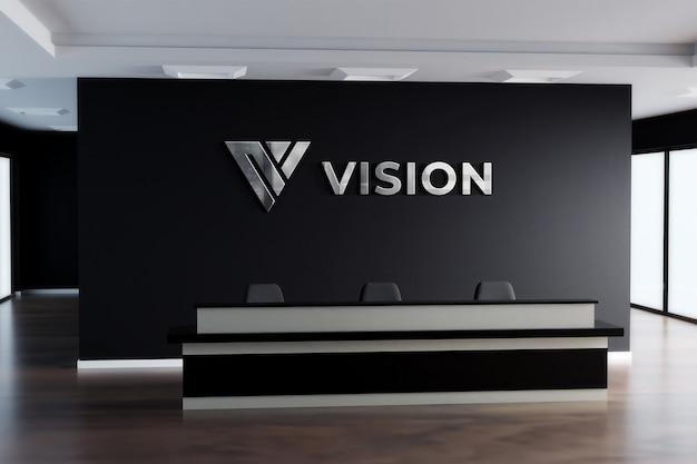 3d логотип макет реалистичные вывеска офиса черная стена