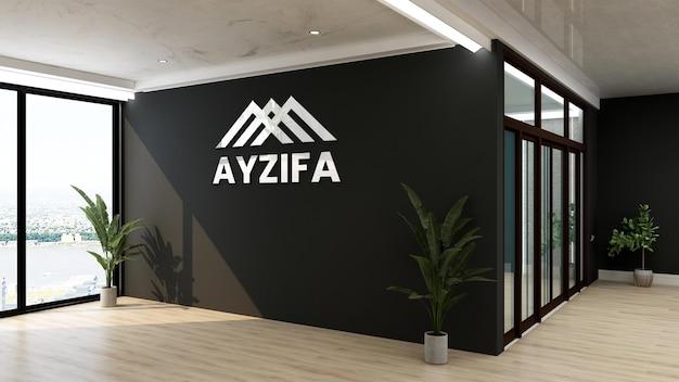 검은 벽과 현대 사무실에서 3d 로고 모형 로그인