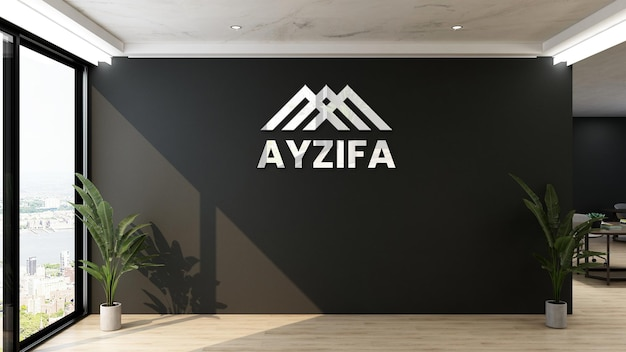 3d logo mockup sign in modern office with black wall