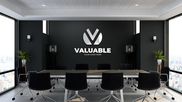 3d logo mockup sign in the office meeting room with black wall