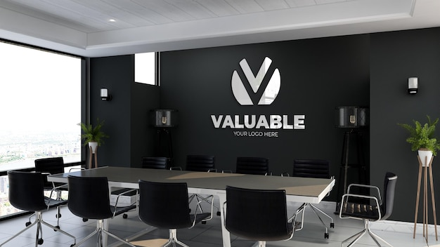 3d logo mockup sign in the office meeting room with black wall Premium Psd