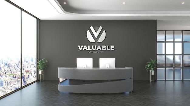3d logo mockup sign in the receptionist indoor office room