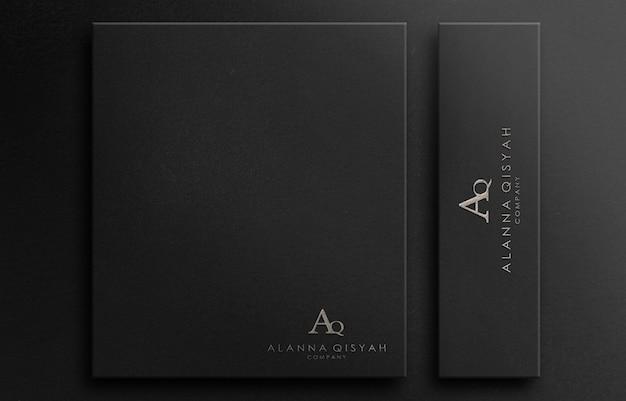 3d логотип макет текстурированная роскошь на черной бумаге